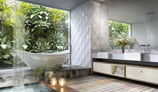 A área da banheiro foi delimitada com revestimento 3D para banheiro