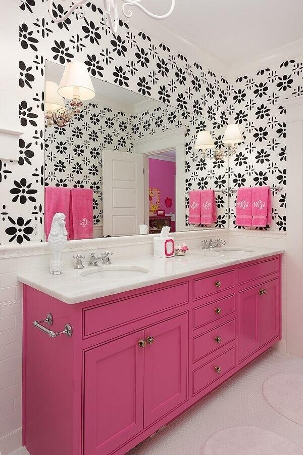 Adesivo de azulejo para decoração de banheiro cor de rosa e branco Foto Houzz