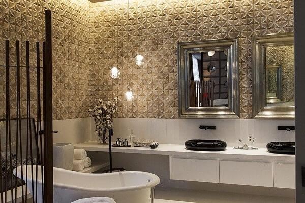 Decoração sofisticação com revestimento 3D para banheiro