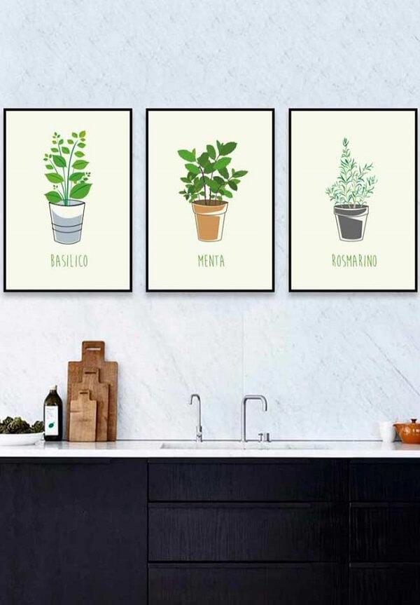 Ervas e temperos representados em quadros decorativos para cozinha