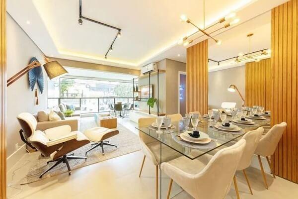 Inove na decoração de ambientes integrados incluindo uma luminária trilho