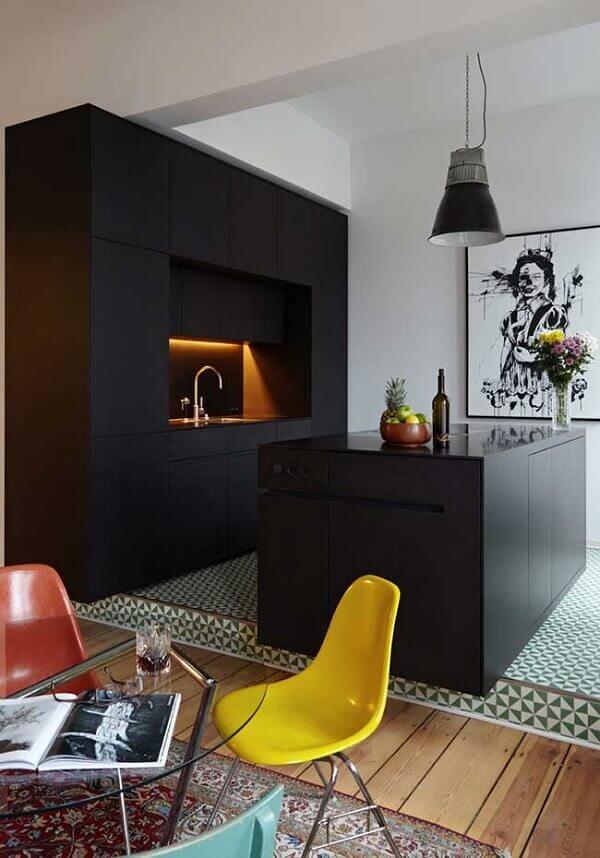 Modelo de quadro decorativo para cozinha moderna com acabamento preto e branco