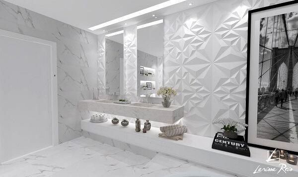 Modelo de revestimento 3D para banheiro amplo