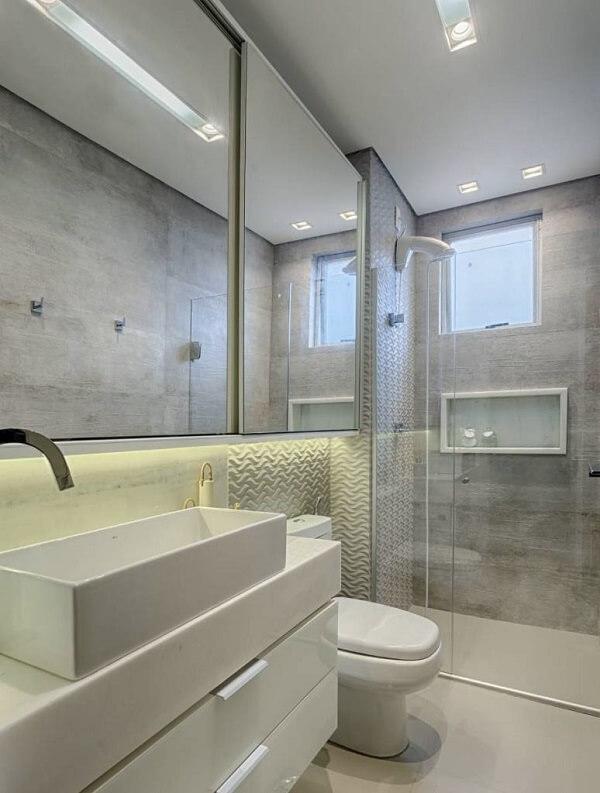 Modelo de revestimento 3D para banheiro em tom branco
