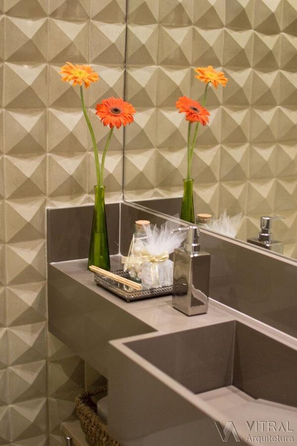 Modelo de revestimento 3D para banheiro pequeno