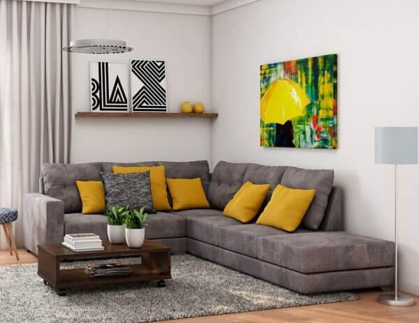 Modelo de sofá de canto cinza claro suede com 5 lugares