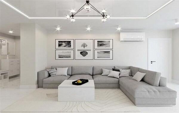 Monte e remonte o sofá de canto cinza feito em módulos