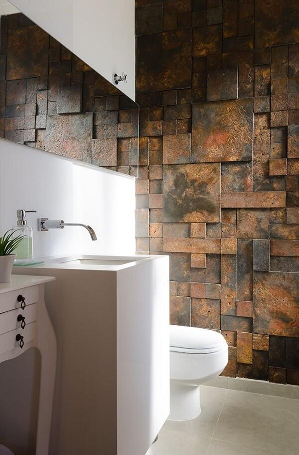 O acabamento nobre do revestimento 3D para banheiro chama a atenção