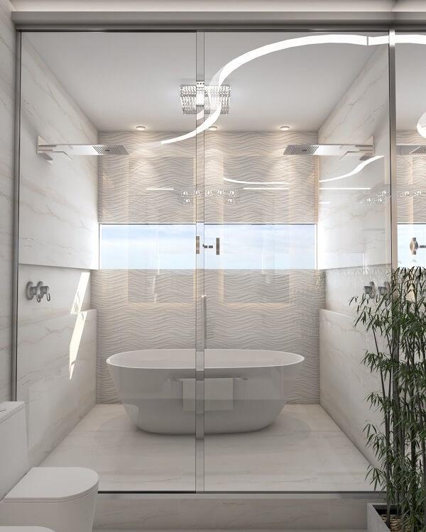 O revestimento 3D para banheiro em forma de ondas traz movimento para a decoração