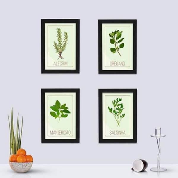 Quadros decorativos para cozinha com ervas e temperos