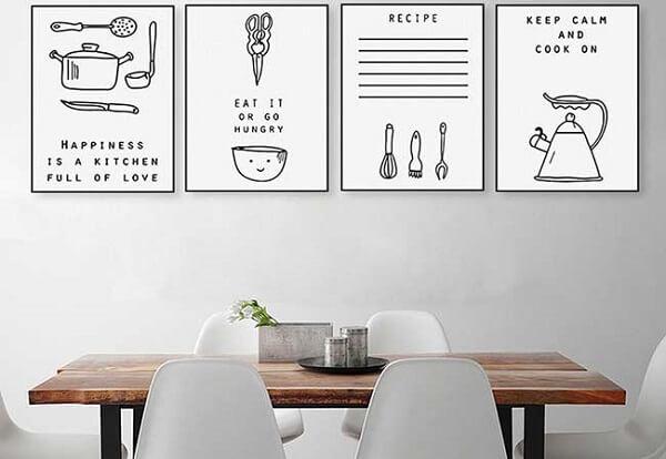 Quadros decorativos para cozinha em preto e branco com gravuras divertidas
