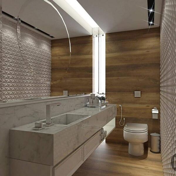 Revestimento 3D para banheiro em formato triangular