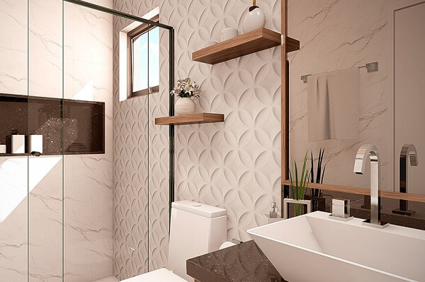 Traga estilo e personalidade incluindo revestimento 3D para banheiro