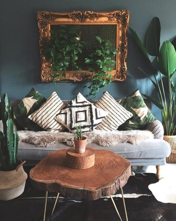 Sala de estar com almofadas de estampas étnicas preto e branco