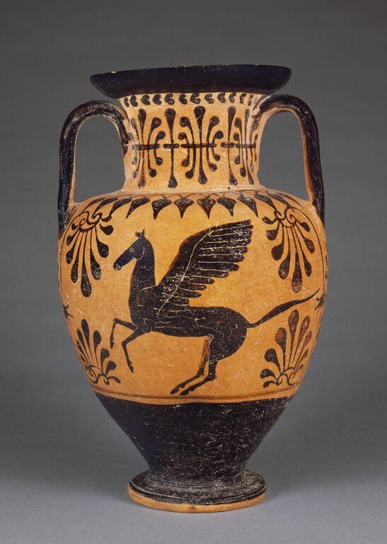 ânfora grega com pégaso desenhado