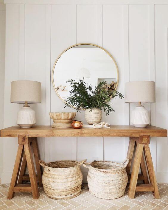Aparador de madeira para decoração estilo boho chic