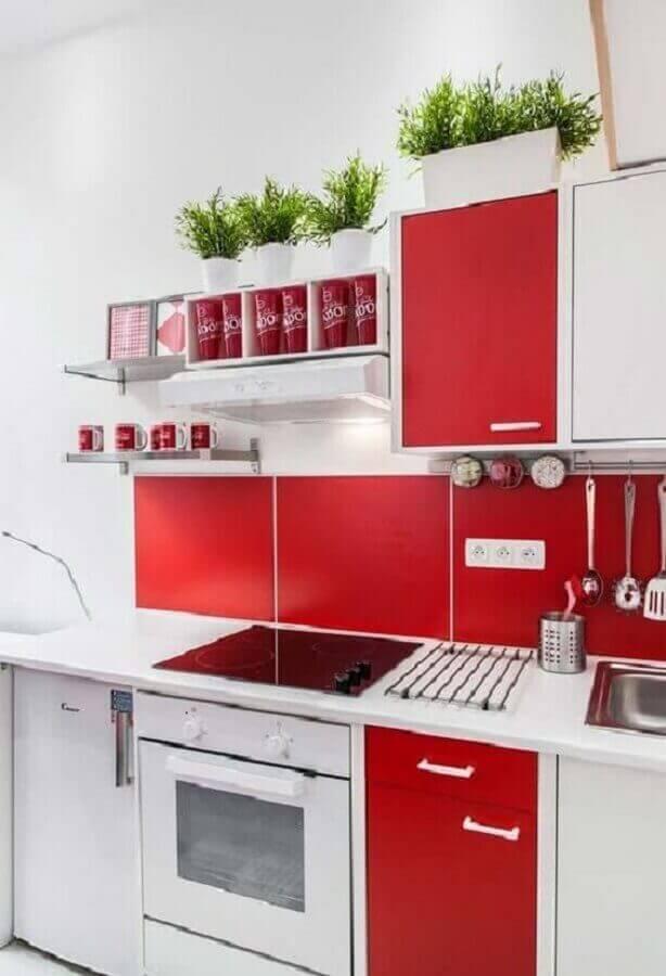 armário de cozinha branco e vermelho simples Foto Pinterest