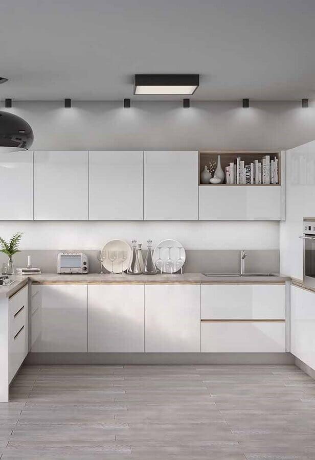 armário de cozinha completo branco Foto Ideias Decor