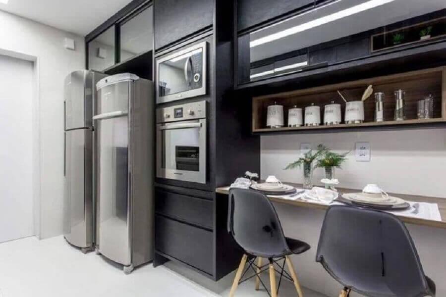 armário de cozinha completo preto Foto Vanja Maia Arquitetura
