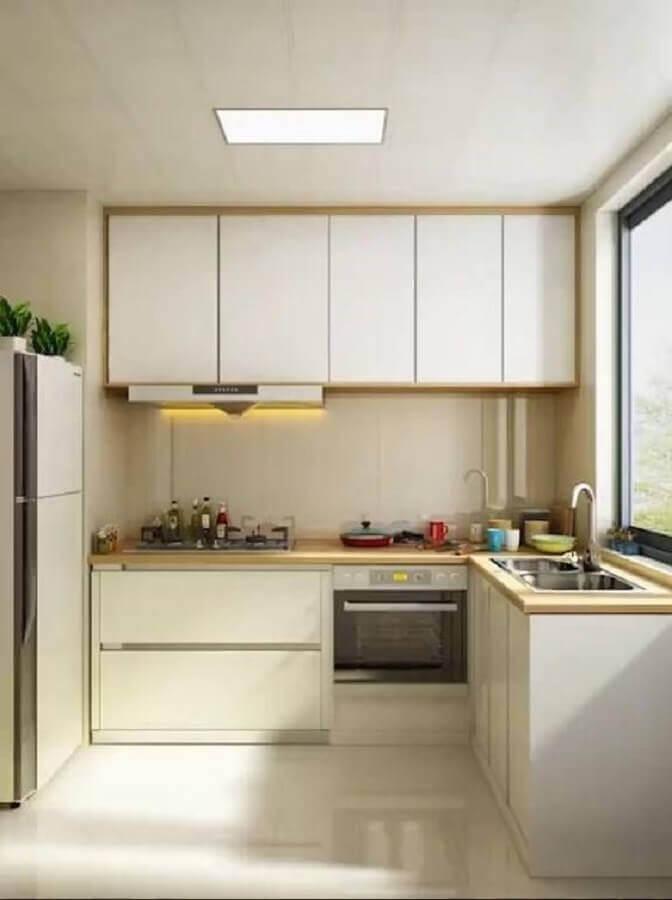 armário de cozinha pequeno branco com detalhes em madeira Foto Pinterest