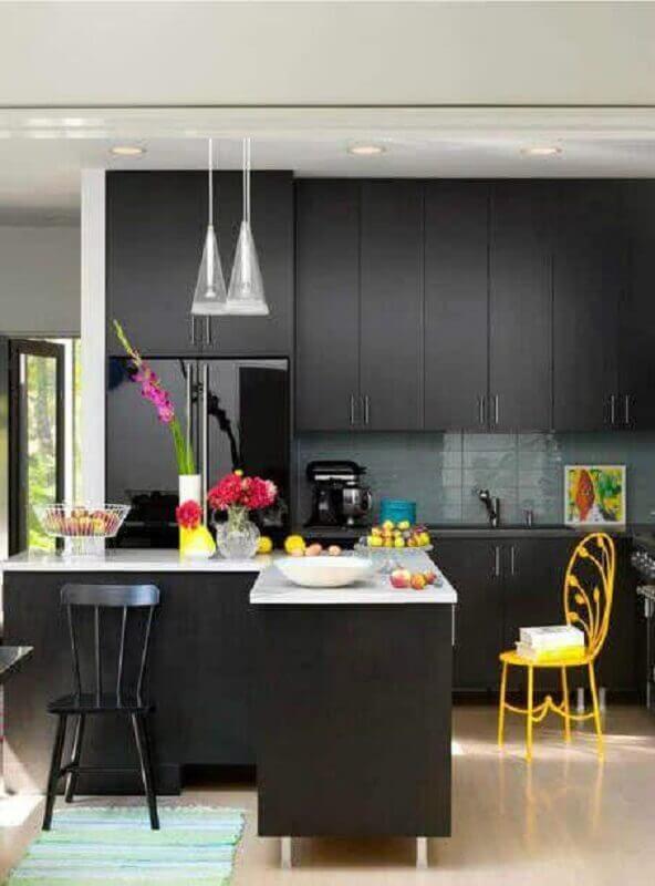 armário de cozinha preto fosco planejado Foto Pinterest