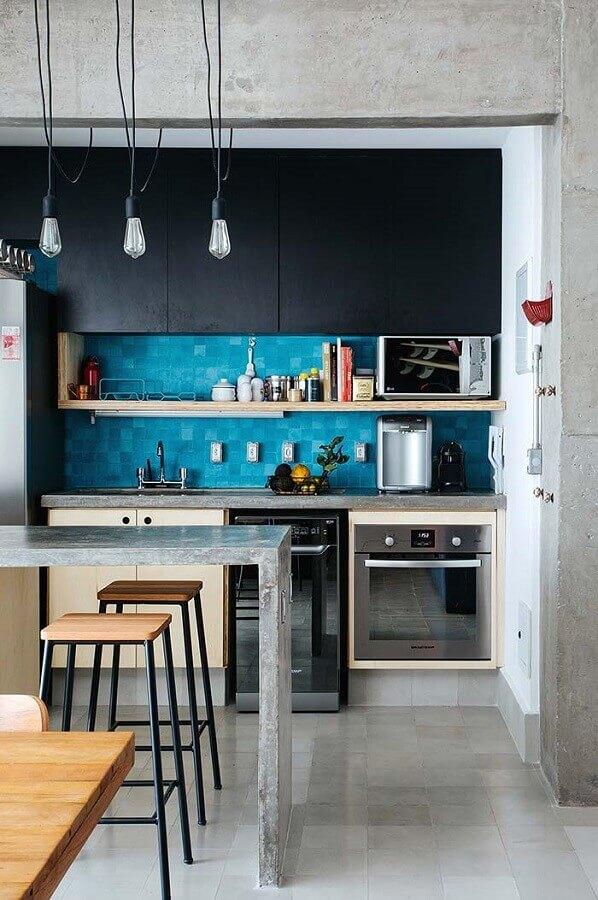 bancada de cimento queimado para cozinha pequena Foto Futurist Architecture