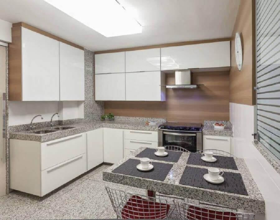 bancada de granito para armário de cozinha completo branco de canto Foto Carmem Calixto