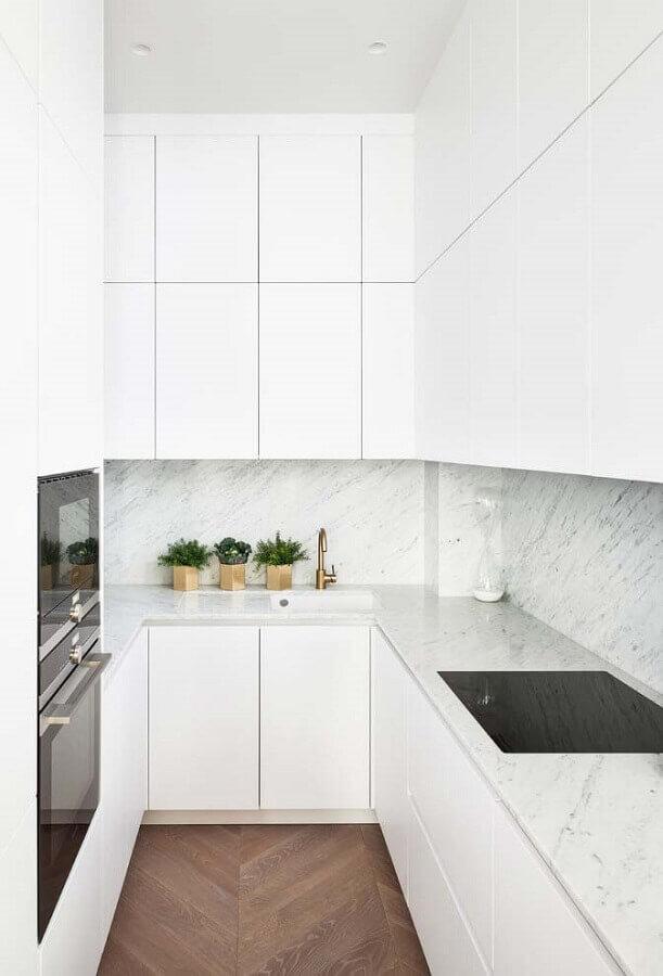 bancada de mármore para cozinha pequena planejada toda branca Foto Houzz