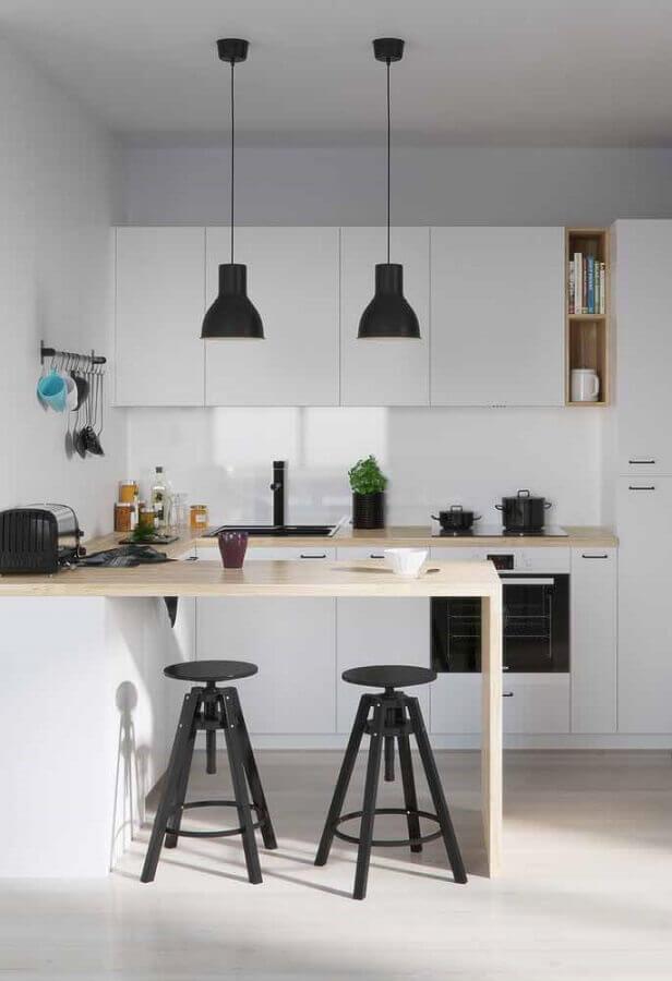 bancada de madeira para armário de cozinha branco Foto Houzz