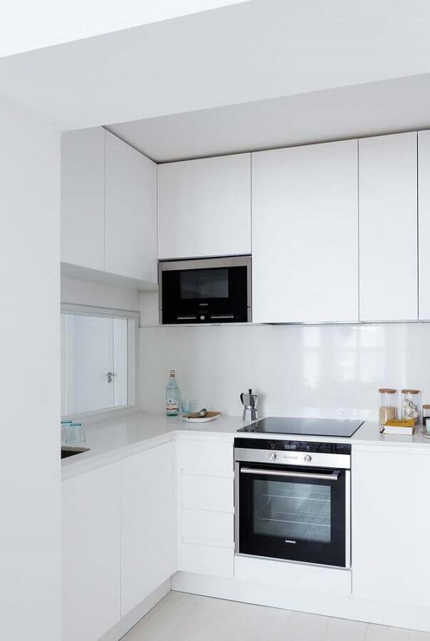 bancada para cozinha americana pequena planejada toda branca Foto Home Fashion Trend