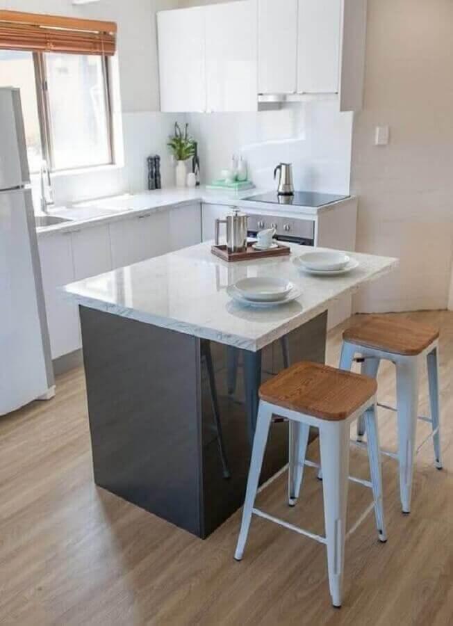 bancada para cozinha pequena com ilha Foto Pinterest