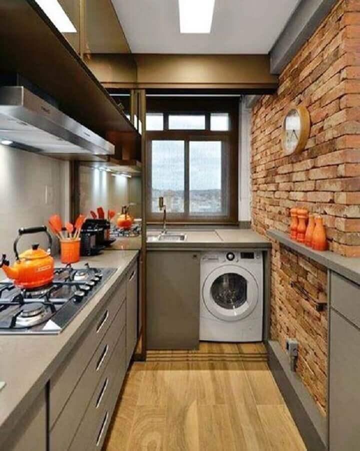 bancada para cozinha pequena com parede de tijolinho rústica Foto Simples Decoração