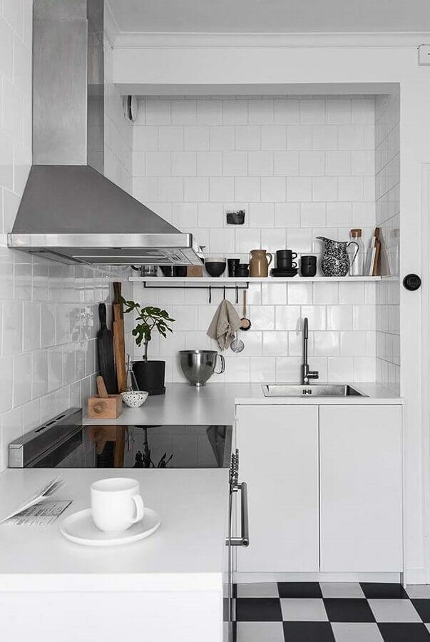 bancada para cozinha pequena de canto toda branca Foto Home Fashion Trend