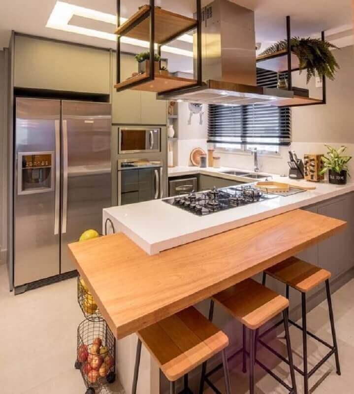 bancada para cozinha pequena moderna planejada Foto Arkpad