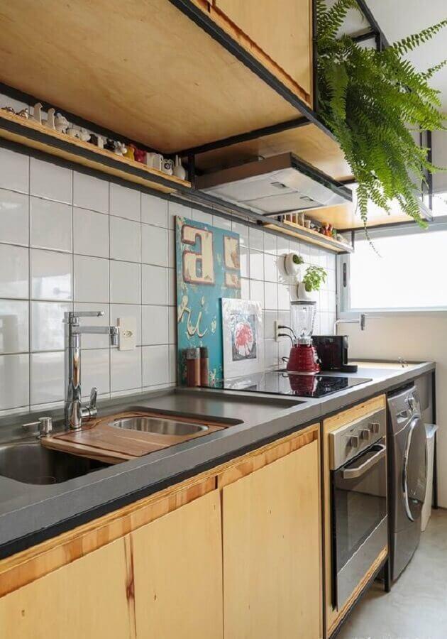 bancada para cozinha pequena planejada simples Foto Histórias de Casa