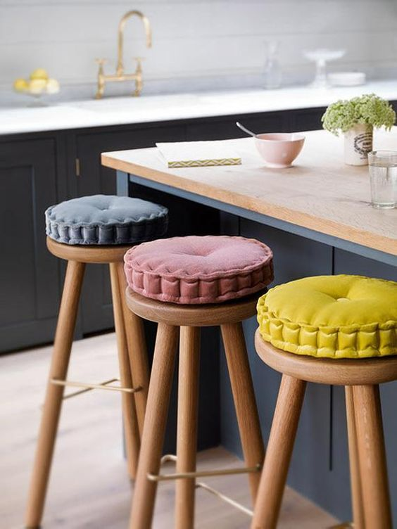 Tall stools with colorful upholstery