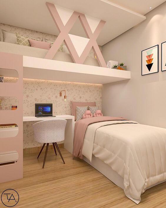 Beliche planejada para quarto com escrivaninha