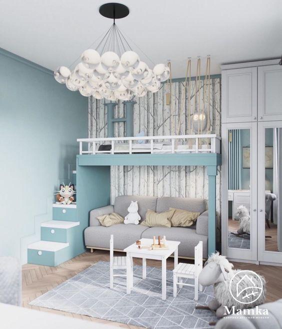 Beliche planejada no quarto infantil azul