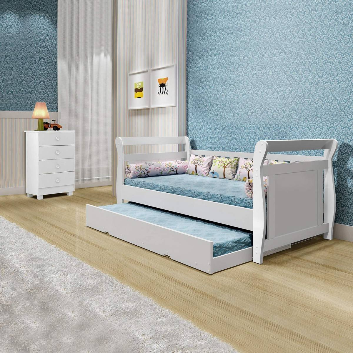 Children's bunk bed for blue bedroom