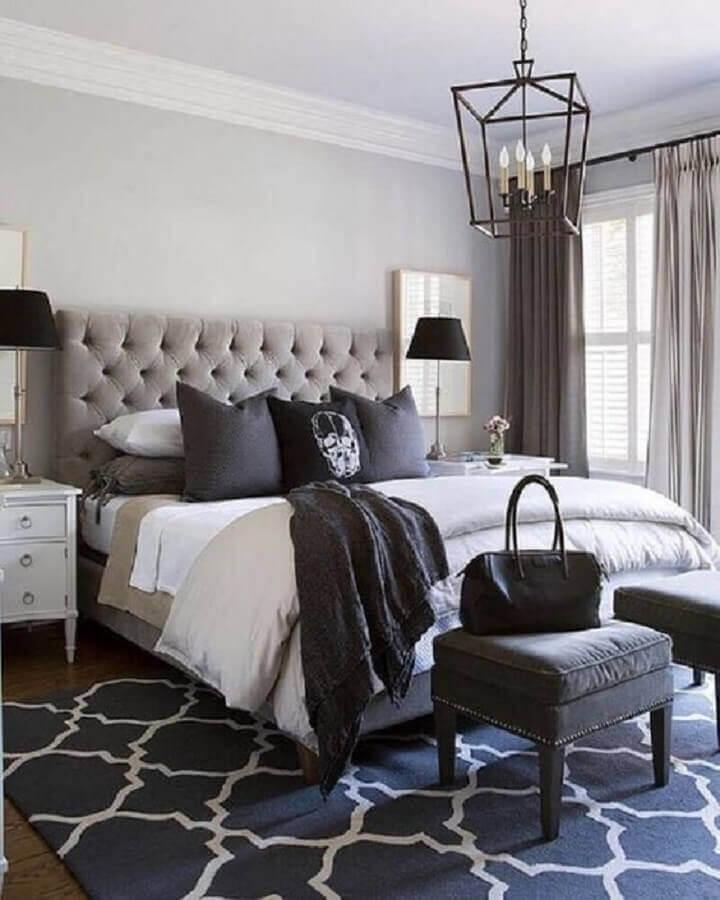 cabeceira de cama de casal cinza capitonê Foto Pinterest