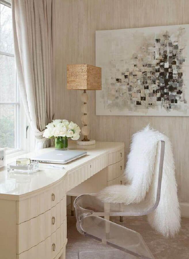 cadeira transparente moderna para penteadeira branca Foto Clear Home Design