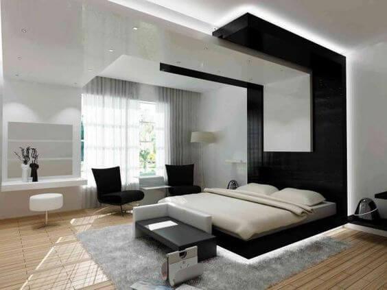 Use a cama flutuante com led para uma decoração moderna