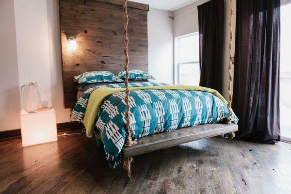 Outra maneira de fazer a cama flutuante é com a cama suspensa