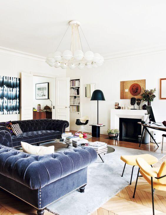 Conjunto sofá chesterfield azul