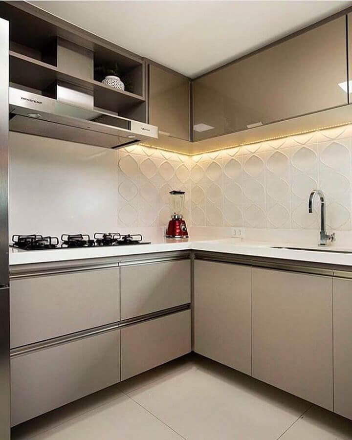 cor nude para decoração de cozinha planejada com revestimento 3d Foto Dcore Você