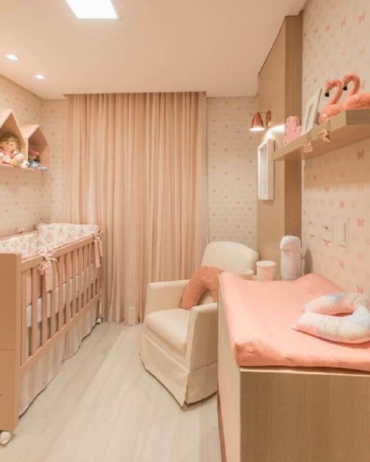 cor nude rose para decoração de quarto de bebê feminino Foto Pinterest