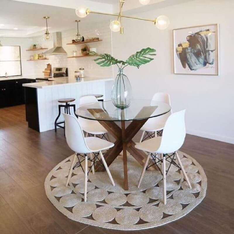 clean decor with a dining table for 4 seater round glass Photo by Pier 1