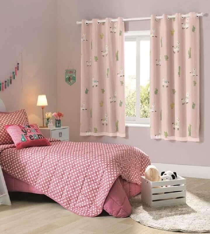 decoração com cortinas para quarto infantil com blecaute cor de rosa Foto Cortina Cortina
