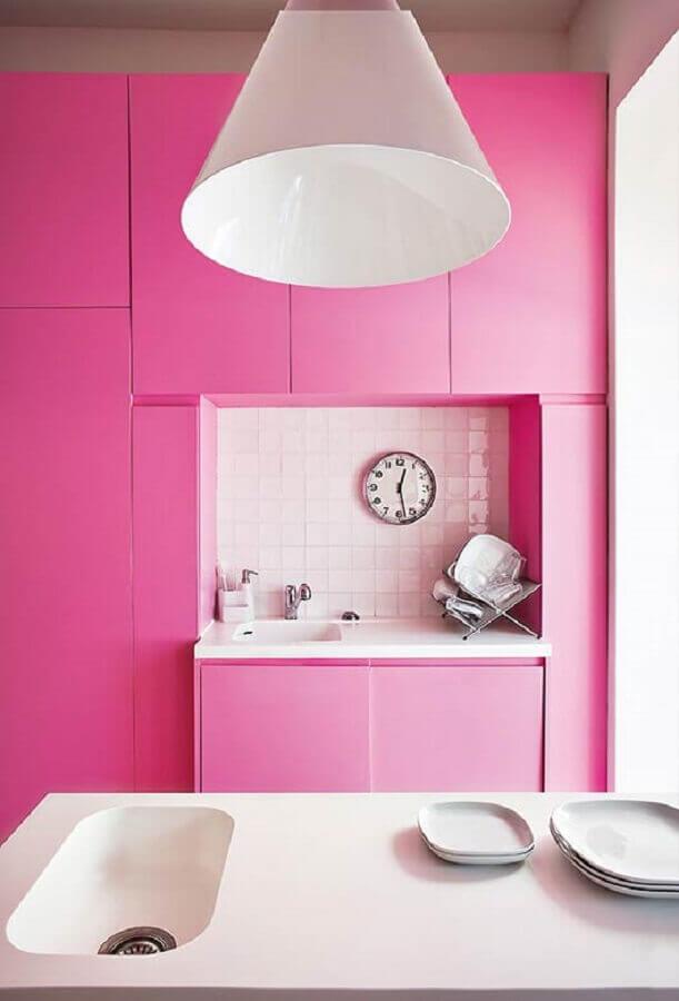 decoração de cozinha moderna cor rosa pink Foto Pinterest