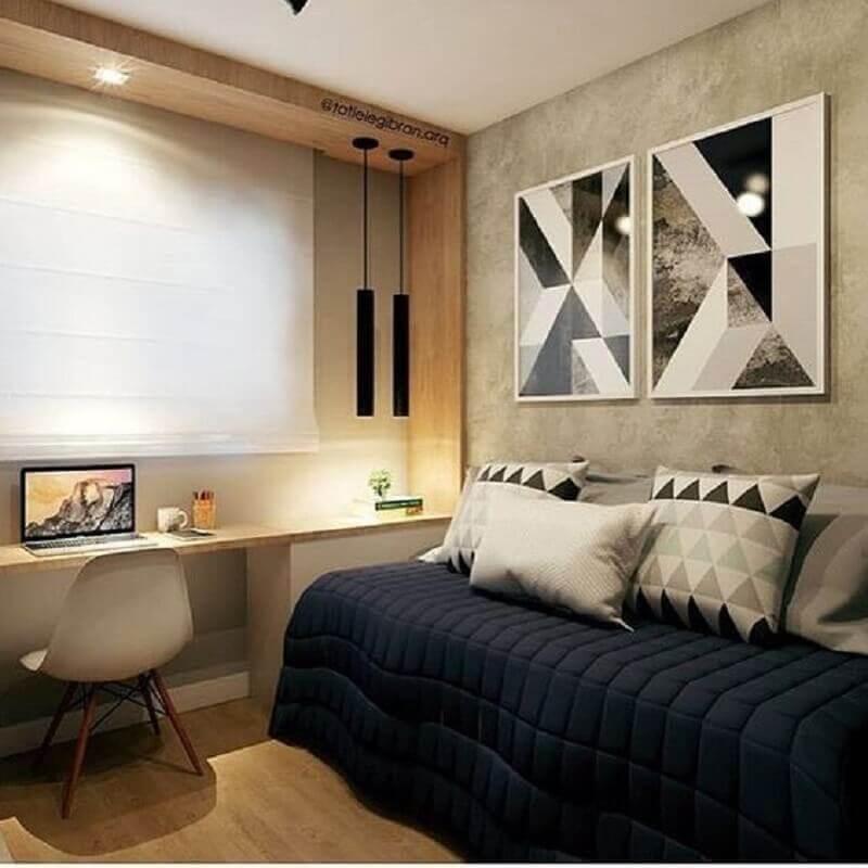 decoração de quarto de adolescente masculino com parede de cimento queimado Foto Jeito de Casa